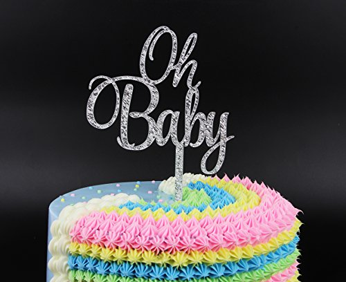 Firefairy Oh Baby Silver Cake Topper Baby Shower Birthday Party Decoration