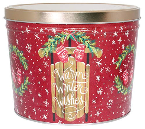 C.R. Frank Popcorn - Gourmet Popcorn Tin, 2 Gallon, Warm Winter Wishes (All Cheese)