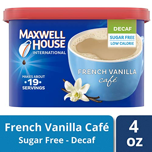 Maxwell House International French Vanilla Sugar Free Decaf Instant Coffee, Decaffeinated, 4 oz Can (Pack of 4)