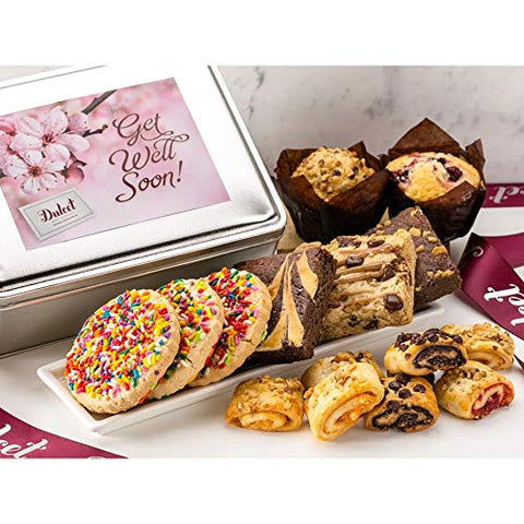 Dulcet Gift Basket Classic Get Well Soon Lovely Cookie and Chocolate Brownie Tin Box, For Friends -Family- Men & Women.