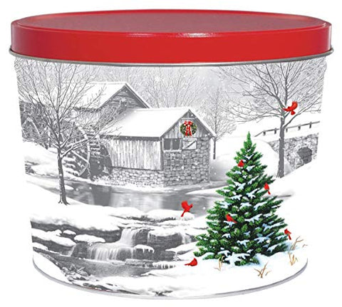 C.R. Frank Popcorn - Gourmet Popcorn Tin, 2 Gallon, Snow Covered Mill (All Cheese)