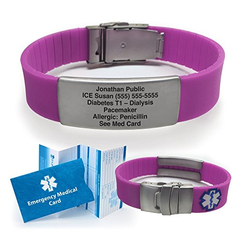 Silicone Sport Medical Alert Id Bracelet   Purple (Incl. 6 Lines Of Custom Engraving). Choose Your C