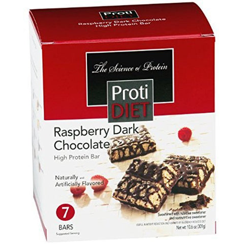 ProtiDiet High Protein Squares - Raspberry Dark Chocolate (7 Servings/Box) by Protidiet