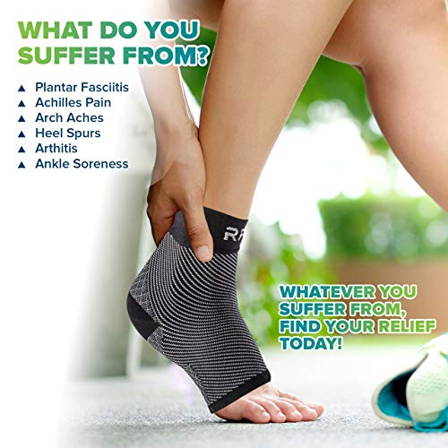 Plantar Fasciitis Foot Compression Sleeves for Injury Rehab & Joint Pain. Best Ankle Brace - Instant Relief & Support for Achilles Tendonitis, Fallen Arch, Heel Spurs, Swelling & Fatigue - Medium