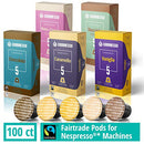 Image of Gourmesso Flavor Bundle - 100 Coffee Capsules Compatible with Nespresso Machines - 100% Fair Trade | Includes Vanilla, Caramel, Chocolate, Hazelnut, and Coconut Flavored Espresso Pods