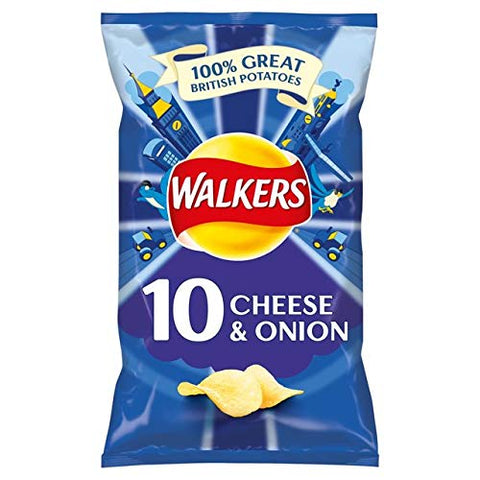 Walkers Cheese & Onion Crisps 25g x 10 per pack