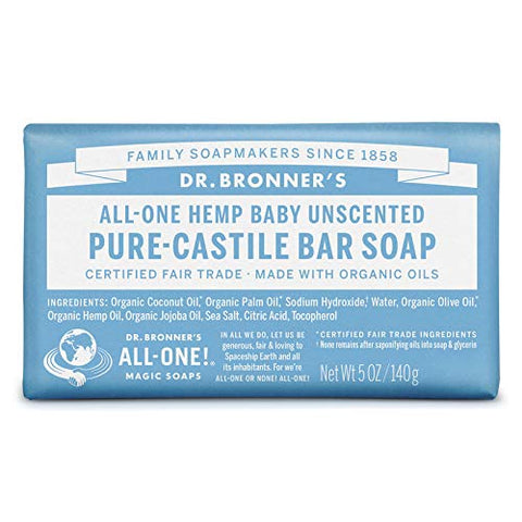 Dr Bronner Bar Soap Organic Mild Baby 5 oz ( 12-Pack)