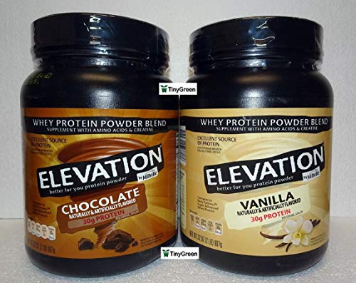Elevation by Millville Whey Protein Powder Blend 2 Flavors Chocolate & Vanilla Combo Bundle 32oz 907g (Pack of Two)
