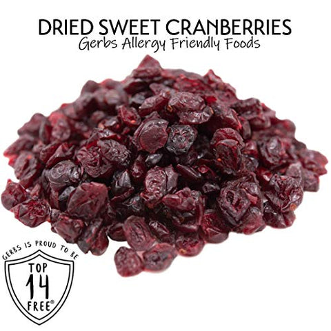 GERBS Dried Cape Cod Cranberries, 64 ounce Bag, Unsulfured, Preservative, Top 14 Food Allergy Free