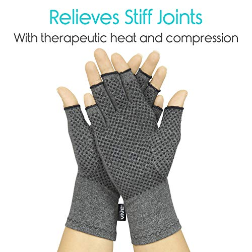 Vive Arthritis Gloves with Grips - Men & Women Textured Fingerless Compression - Open Finger Hand Gloves for Rheumatoid and Osteoarthritis - Arthritic Joint Pain Relief for Computer Typing (Large)