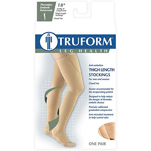 Truform Surgical Stockings, 18 mmHg Compression for Men and Women, Thigh High Length, Closed Toe, Beige, X-Large