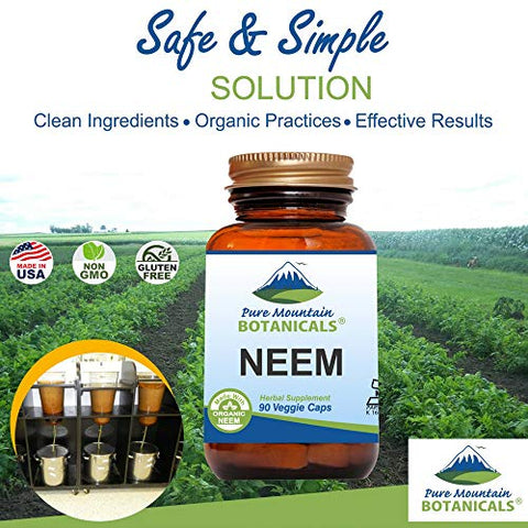 Neem Capsules - 90 Kosher Vegan Caps with 500mg Organic Neem Leaf Supplement