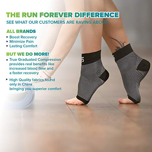 Plantar Fasciitis Foot Compression Sleeves for Injury Rehab & Joint Pain. Best Ankle Brace - Instant Relief & Support for Achilles Tendonitis, Fallen Arch, Heel Spurs, Swelling & Fatigue - Large