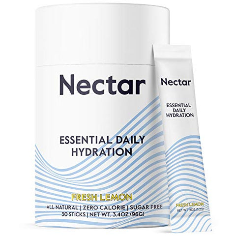 Nectar Hydration Powder Packets - Organic Electrolyte Powder - No Sugar or Calories - Daily IV Hydrate Packets for Dehydration Relief and Rapid Rehydration - Keto and Paleo (Lemon 30 Stick Packs)