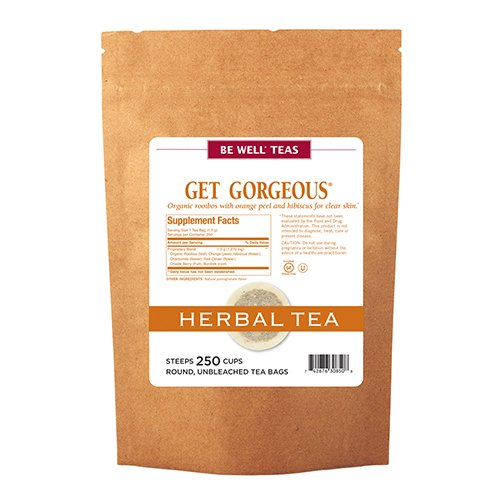 The Republic of Tea Be Well Rooibos Red Tea - Get Gorgeous - Herb Tea For Clear Skin, 250 Tea Bags, Caffeine-Free