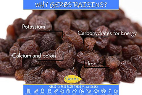 GERBS Seedless Raisins, 32 ounce Bag, Unsulfured, Preservative, Top 14 Food Allergy Free