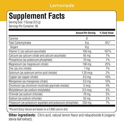 Ultima Replenisher Electrolyte Hydration Powder, Lemonade, 20 Count Stickpacks - Sugar Free, 0 Calories, 0 Carbs - Gluten-Free, Keto, Non-GMO with Magnesium, Potassium, Calcium, 2.5 Ounce (Pack of 1)
