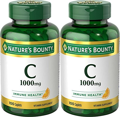 Nature's Bounty Vitamin C Pills and Supplement, Supports Immune Health, 1000mg, 100 Caplets, 2 Pack