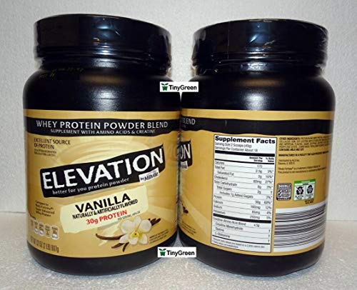 Elevation by Millville Whey Protein Powder Blend Vanilla 32oz 907g (Pack of Two)