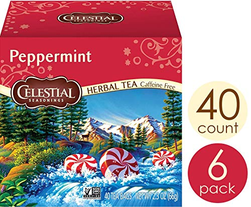 Celestial Seasonings Herbal Tea, Peppermint, 40 Count (Pack of 6)
