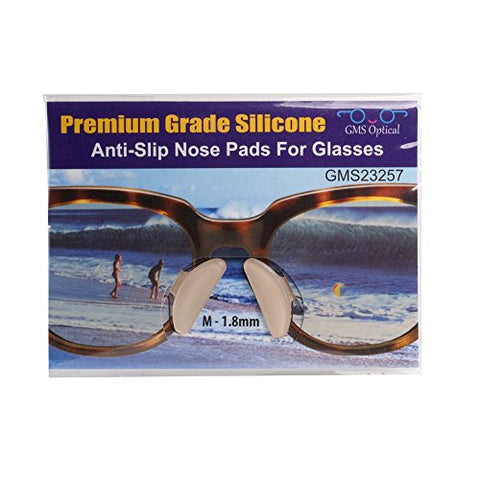 10 Pair Clear - 1.8mm x 17mm Non-Slip Nose Pads for Eyeglasses by GMS Optical - Premium Grade Silicone