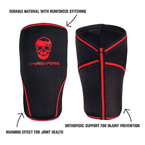 Gymreapers Knee Sleeves (1 Pair) Free Gym Bag - Knee Sleeve & Compression Brace for Squats, Fitness, Weightlifting, and Powerlifting 7MM Sleeve Pair - for Men & Women - 1 Year Warranty (Medium)