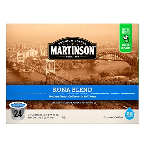 Martinson Single Serve Coffee Capsules, Kona Blend, Compatible with Keurig K-Cup Brewers, 24 Count
