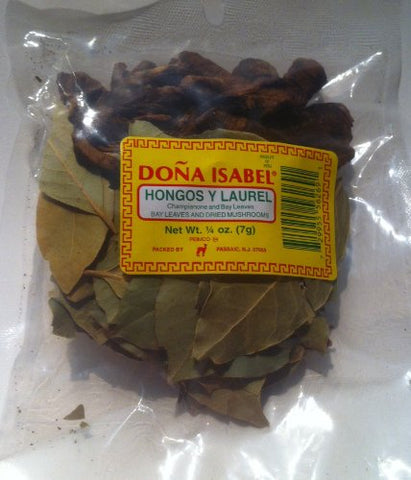 Doa Isabel Hongos Y Laurel - Baby Leaves and Dried Mushrooms (Single Bag 1/4oz) Product of Peru