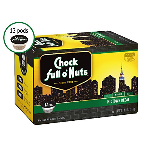 Chock Full Oâ??Nuts Midtown Decaf Medium Roast, K Cup Compatible Pods (12 Count)   100% Premium Arab