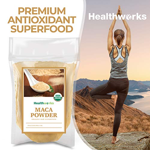 Healthworks Maca Powder Raw (16 Ounces / 1 Pound) | Certified Organic Flour Use | Keto, Vegan & Non-GMO | Premium Peruvian Origin | Breakfast, Smoothies, Baking & Coffee | Antioxidant Superfood