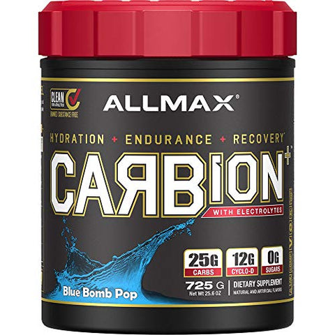 ALLMAX Nutrition CARBion+ with Electrolytes + Hydration, Gluten-Free + Vegan Certified, Blue Bomb Pop, 25 Servings, 725 Grams