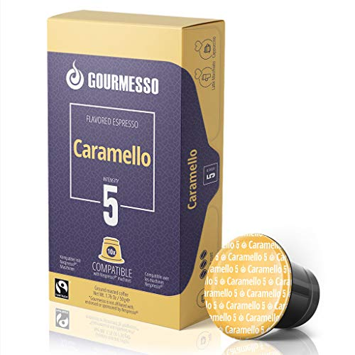 Gourmesso Flavor Bundle - 100 Coffee Capsules Compatible with Nespresso Machines - 100% Fair Trade | Includes Vanilla, Caramel, Chocolate, Hazelnut, and Coconut Flavored Espresso Pods