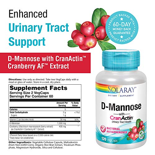 Solaray D-Mannose with CranActin Cranberry Extract 1000 Milligram | for Normal, Healthy Urinary Tract Support | with Vitamin C | Non-GMO, Vegan | 120 Count