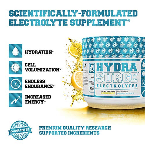 HYDRASURGE Electrolyte Powder - Hydration Supplement with Key Minerals, Himalayan Sea Salt, Coconut Water, More - Keto Friendly, Sugar Free & Naturally Sweetened - 60 Servings, Refreshing Lemonade