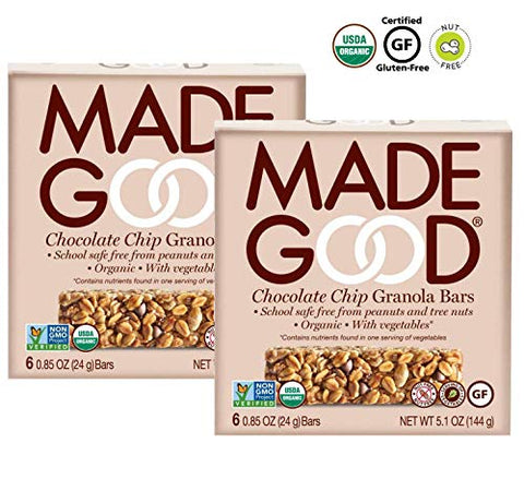 MadeGood Chocolate Chip School-Safe Nut-Free Gluten-Free USDA Organic Vegan Granola Bars: 2 Pack - 12 ct.