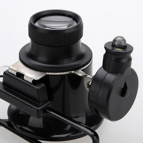 Watch Repair 20X Magnifier Magnifying Eye Glasses Loupe Lens Jeweler LED Light