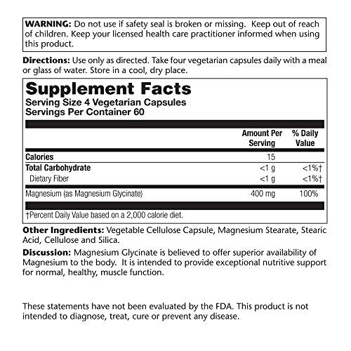 Solaray Magnesium Glycinate 400 Milligram | May Support Bone and Cardiovascular Health | Enhanced Absorption | Lab Verified |VegCaps (240 Count)