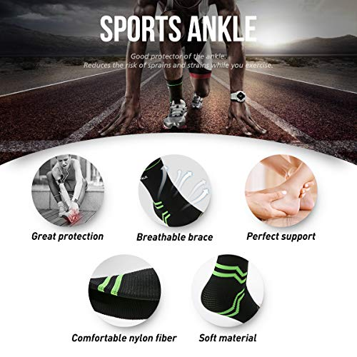 VANWALK Ankle Brace Compression Support Sleeve (Pair) for Plantar Fasciitis Arch Tendon Support, Eases Heel Spurs Sprained Ankle Swelling Joint Pain (Green, M)