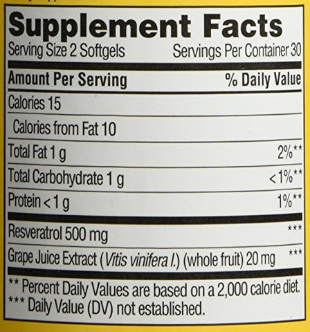 Finest Nutrition Resveratrol 500mg Extra Strength, Softgels, 60 ea