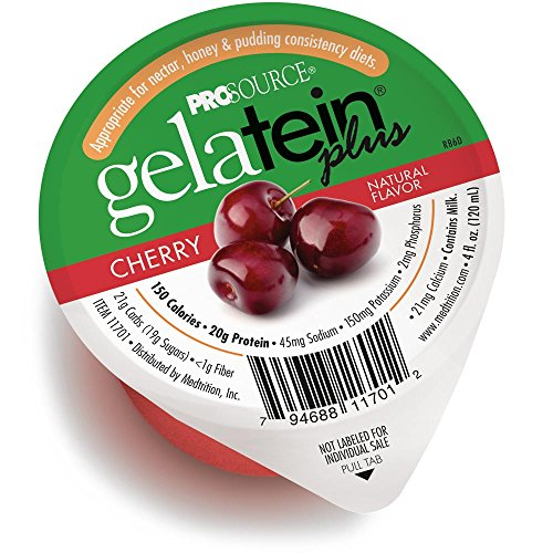 Gelatein Plus Cherry: 20 Grams of Protein. Ideal for Clear Liquid Diets, swallowing Difficulties, bariatric, Dialysis and Oncology. Great pre or Post-Workout Snack. (14 Pack)