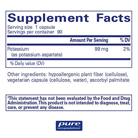 Pure Encapsulations - Potassium (Aspartate) - Hypoallergenic Supplement to Support Nerves, Muscles, Blood Flow, and Cardiovascular Health* - 90 Capsules