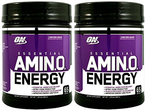 Optimum Nutrition Amino Energy 65 Servings, Concord Grape (2 Pack)