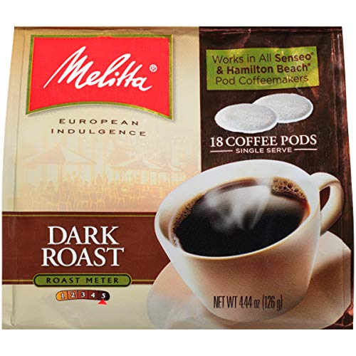 Melitta Dark Roast Coffee Pods For Senseo & Hamilton Beach Pod Brewers, 18 Count (Pack Of 6)