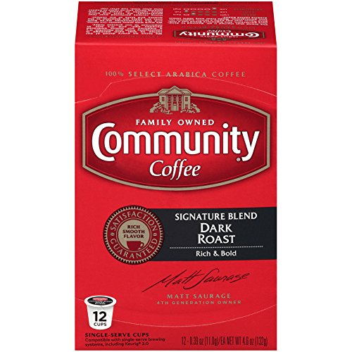 Community Coffee Signature Blend Dark Roast Single Serve K Cup Coffee Pods, Box Of 12 Pods (Pack Of