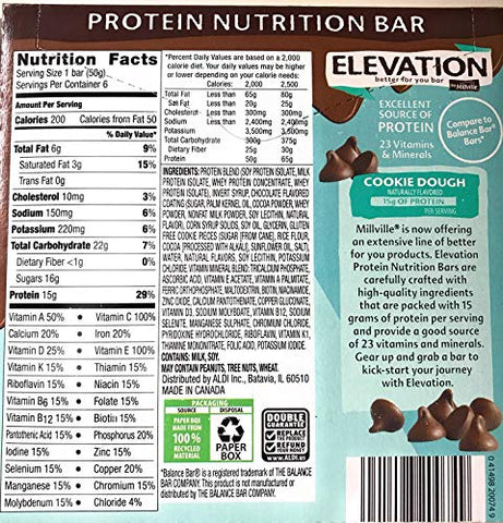 Millville Elevation Advanced Protein Nutrition Cookie Dough Endulgent Bars - 6 ct.