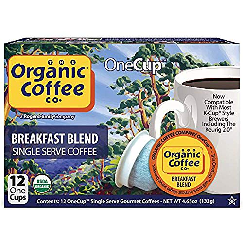 The Organic Coffee Co. Breakfast Blend 12 Ct Medium Light Roast Compostable Coffee Pods, K Cup Compa