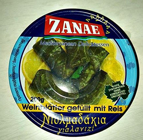 Zanae Stuffed Grape Leaves with Rice - Yalantzi Dolmadakia 200g- 7.05 Oz Can
