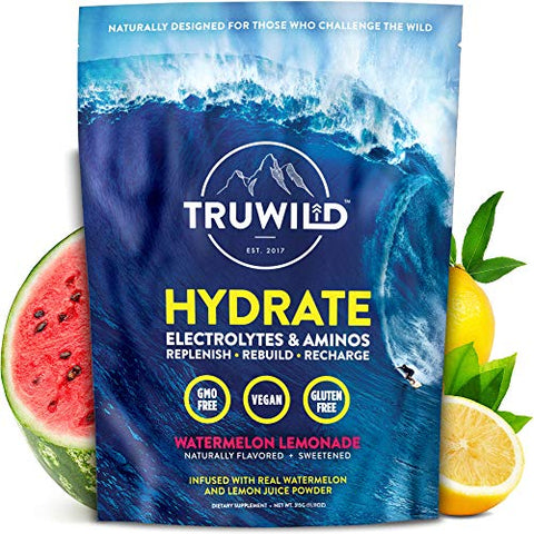 TRUWILD Hydrate Electrolyte + Amino Acids Drink Mix Powder | Clean Post Workout Recovery & Immune Supplement | Vitamin C, Zinc & Magnesium Support | Natural Lemon & Watermelon Juice | Vegan | Non GMO