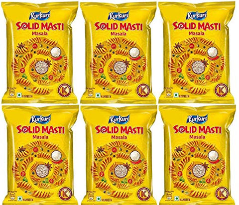 Great Bazaar Kurkure Solid Masti - Indian Snack Namkeen, 80g (6-Pack)