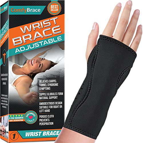 Night Wrist Sleep Support Brace - Fits Both Hands - Cushioned to Help with Carpal Tunnel and Relieve and Treat Wrist Pain,Adjustable, Fitted-ComfyBrace